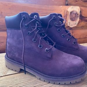 Girls size 4- purple suede- Timberland boots
